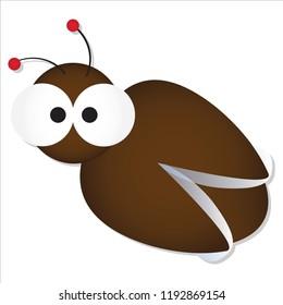 Cute cockroach with big googly eyes cartoon vector illustration