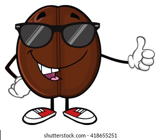 Cute Coffee Bean Cartoon Mascot Character With Sunglases Giving A Thumb Up. Vector Illustration Isolated On White