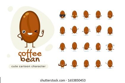 The Cute Coffee Bean. Isolated Vector Illustration