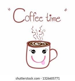 cute coffee cup  doodle cartoon hand draw style  vector eps.10
