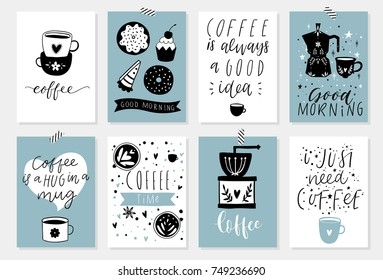 Cute coffee theme premade poster cards wallpapers banners template design set. Collection of cute scandinavian kitchen interior decor for coffee lovers. Vector eps 10
