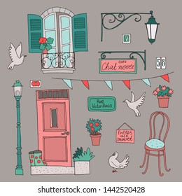 Cute  collection of architectural elements in french style. Lettering on french: Rue Victor Hugo (Street Victor Hugo), Cafe Chat Noir (Black Cat), Entre Cafe Ouverte (come in cafe is open)