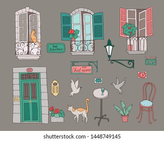 Cute  collection of architectural elements in french style. Lettering on french: Rue Victor Hugo (Street Victor Hugo), Cafe Chat Noir (Black Cat), Tabac (Tobacco)