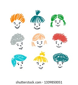 Cute collection of cartoon kids with smiles and colorful hair. Positive set of doodle faces in vector.