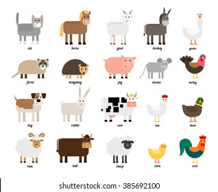 Cute collection of different colored farm animals and birds
