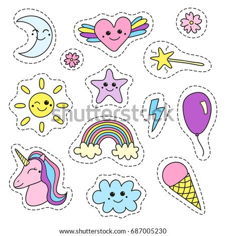 Cute collection of doodle colorful girly magic pop art patches isolated on white background.
