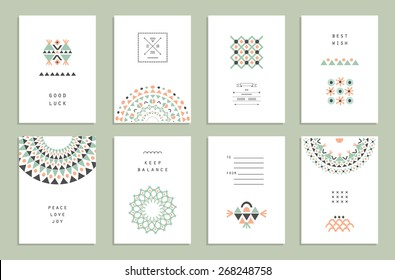 Cute Collection of Ethnic Cards and Invitations. Geometric and aztec patterns. Trendy  backgrounds and logotypes. Vector. Isolated.