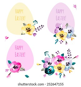 Cute collection of Happy Easter stickers with watercolor elements. Vector illustrations of flowers and eggs. Vintage icons perfect for greeting cards and scrap booking.