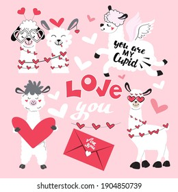 Cute collection with llamas and a hearts. Couple for valentine's day. Inscription Love you on a pink background. Vector illustration of cartoon funny animals. Stickers set