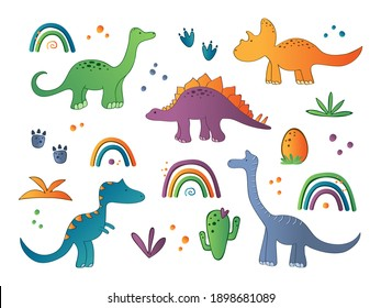 Cute collection with lovely dinosaurs characters. Dino colorfull print for kids decor. Vector illustration set.