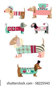 "Cute collection of ""sausage"" dogs (dachshund)."