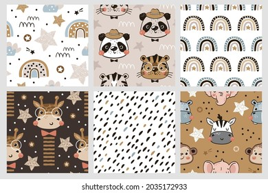 Cute collection of seamless pattern for little boys. Jungle animal faces with stars and rainbows in hand drawn style