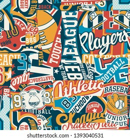 Cute college sporting labels patchwork  abstract vector seamless pattern for children wear