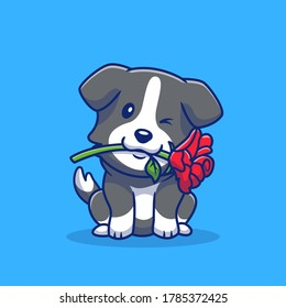 Cute Collie Dog With Red Rose Cartoon Vector Icon Illustration. Animal Romance Icon Concept Isolated Premium Vector. Flat Cartoon Style.