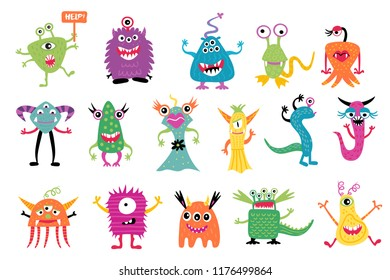 Cute colofrful monster set, isolated on a white background, cartoon monsters, doodle style, vector illustration.