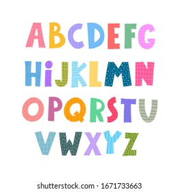 Cute Color alphabet. Hand drawing font for children. Flat isolated vector illustration