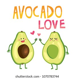 Cute color cartoon avocado couple characters, Valentine's day romantic greeting card. Avocado love with hearts vector illustration. Print design