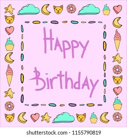Cute color happy birtday frame