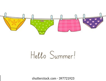Cute color panties on clothesline