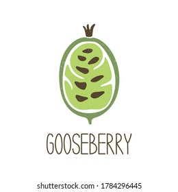 Cute colored caption half gooseberry isolated on transparent background. Colorful pictogram original design. Can be used for infographics, identity or decoration. Vector shabby hand drawn illustration