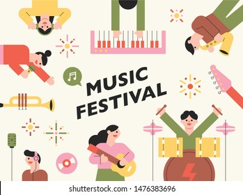 Cute colored characters are playing musical instruments. Card concept template. flat design style minimal vector illustration.