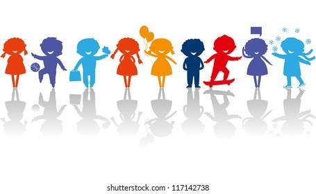 Cute colored children silhouettes.