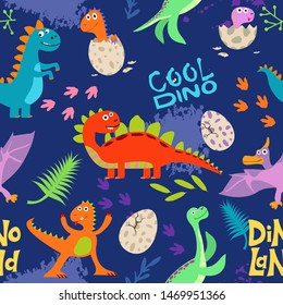 Cute colored dinosaurus seamless pattern vector design. Illustration of seamless background dino, animal dinosaur character