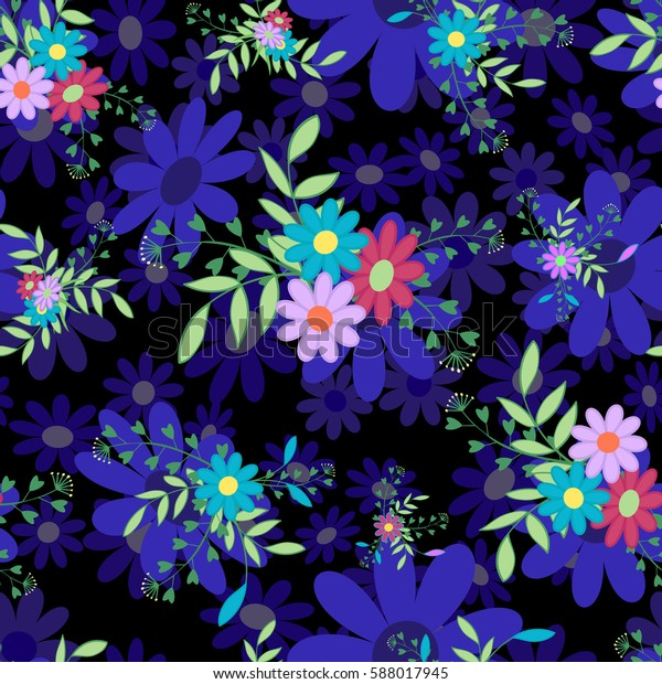 Cute Colored Flowers Leaves On Black Stock Vector Royalty Free 588017945