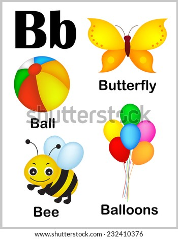 cute and colorful alphabet letter b with set of illustrations and words printable sheet