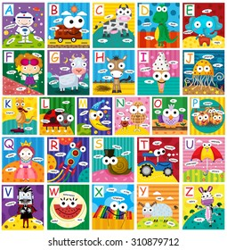 Cute colorful a-z alphabet cartoon set with big eyes,isolated on white background, illustration, vector