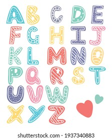 Cute colorful baby alphabet letters
