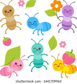 Cute colorful baby ant bugs. Vector illustration