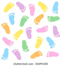 Cute and colorful baby footprints seamless pattern white background