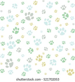 Cute colorful background with animals footprints.