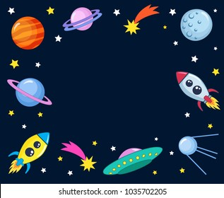 Cute colorful background template with space mars stars planets ufo rockets spaceships satellite and comet on dark background. Vector illustration, frame for kids