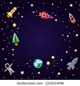 Cute colorful background template with  stars planets ufo rockets spaceships satellite and comet on dark background. Vector illustration, frame for kids