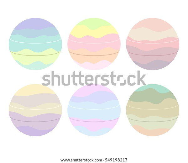 Cute colorful bath bombs isolated on white background.