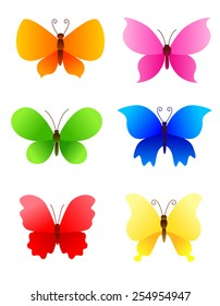 Cute colorful butterflies icons / logo collection for creative works.. can be use for holiday greeting cards / party invitations etc..