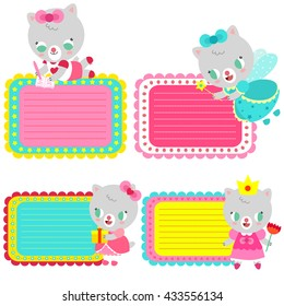 Cute colorful cards with kittens. Cards for invitations, greetings or other messages. Bright children's design. Labels for gifts.