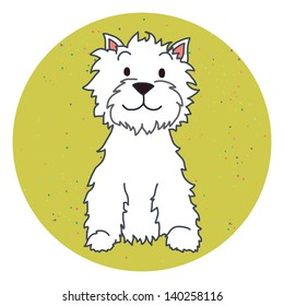 Cute colorful cartoon dog in green circle. West highland terrier. Hand drawn vector illustration.