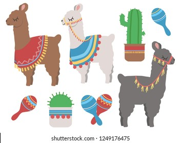 Cute colorful cartoon llama with cactus and mexican rumba shaker graphic design illustration set