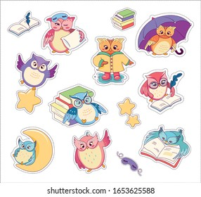 Cute Colorful Cartoon Owls Set Stickers Flat Vector Illustration. Charcter Reading Book, Sitting on Moon, Writing in Notebook, Wearing Sleeping Mask with Pillow, Flying with Star and Holding Umbrella.