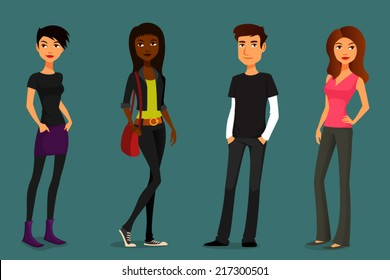 cute and colorful cartoon people in various outfits