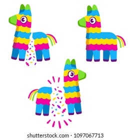 Cute colorful cartoon Pinata. Broken with confetti and candy. Birthday celebration vector illustration set.