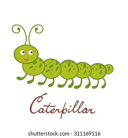Cute colorful caterpillar character illustration in vector format