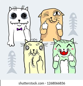 Cute colorful cats in doodle style making gesture with middle finger