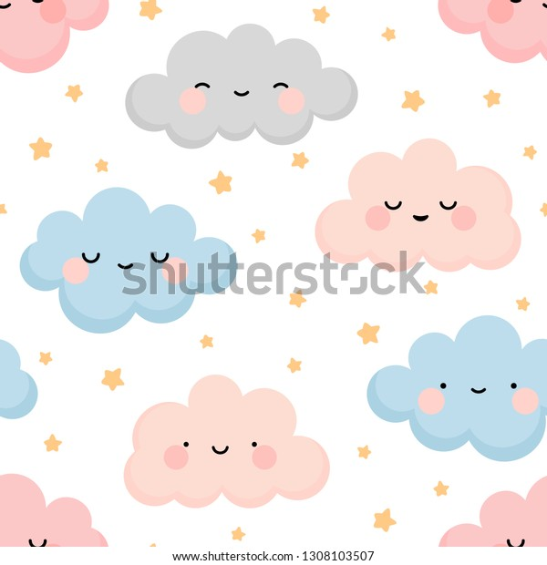 Cute colorful cloud smiling face seamless pattern background with yellow star glow, white repeating vector illustration