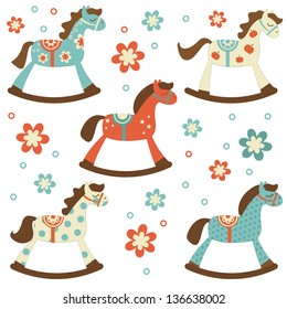 Cute colorful collection of rocking horses