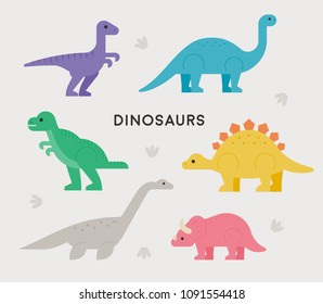 cute colorful dinosaurs characters. flat design style vector illustration set