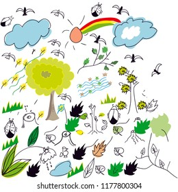 cute colorful doodle nature view for kid illustration